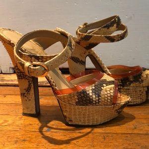 Sergio Rossi genuine snake skin platform sandal